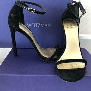 Shoes - Stuart Weitzman Black Suede 'Nudist' Heel